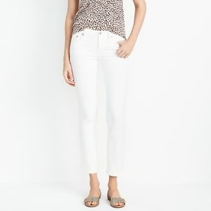 "J. Crew 8"" Midrise Skinny Jean in White Denim"